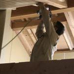 天井の板を張り始めました。